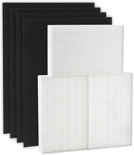 True HEPA Filter R, HRF-R3 Compatible with Honeywell Air Purifier HPA300 3 Pack with 4 Pack Precut Activated Carbon Pre-Filters Replacement HRF-AP1